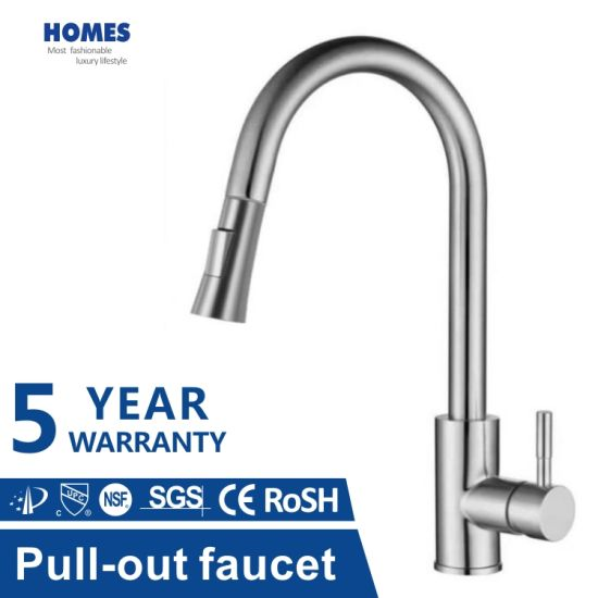 villa project pull down kitchen faucet single handle stainless steel sus304 lead free kitchen sink faucet tap with 3 modes pull out sprayer sleek