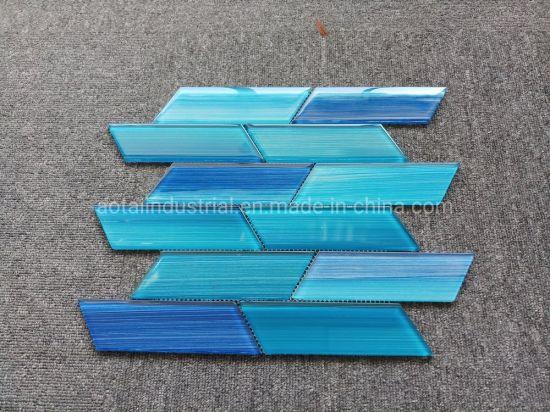 fashionable design blue glass mosaic for glass tile kitchen backsplash