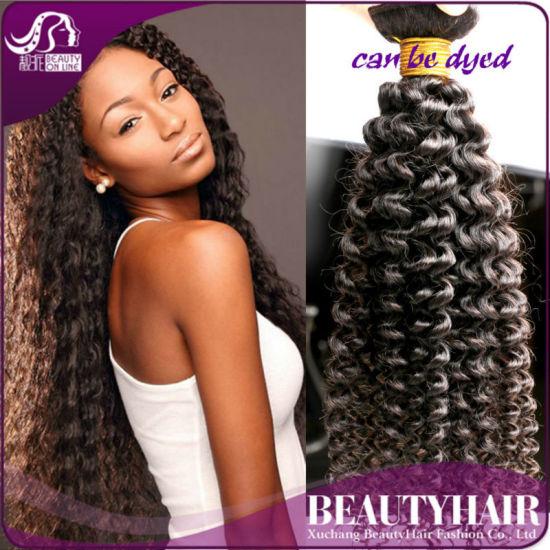 China 100 Human Hair Kinky Curly Hair Weave Natural Color Kinky