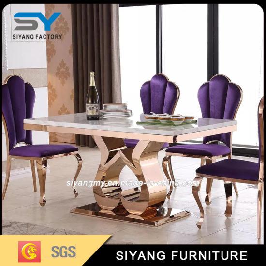 China Kitchen Furniture Dining Room Set Marble Table Gold Dining Table China Glass Dining Table Furniture