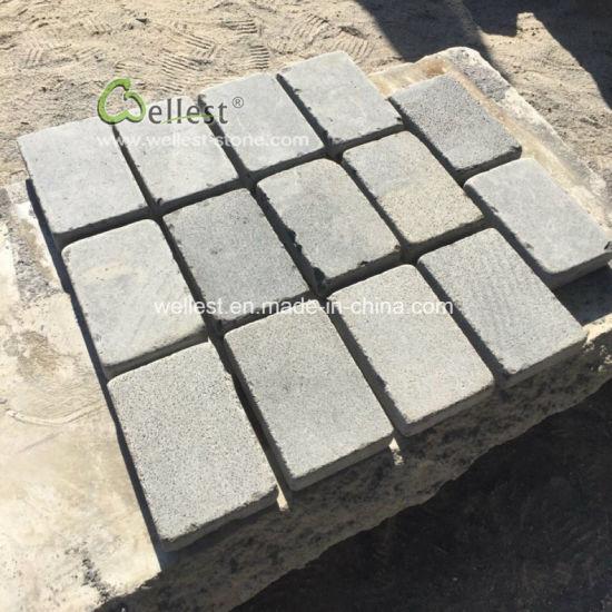 china light grey basalt paver driveway