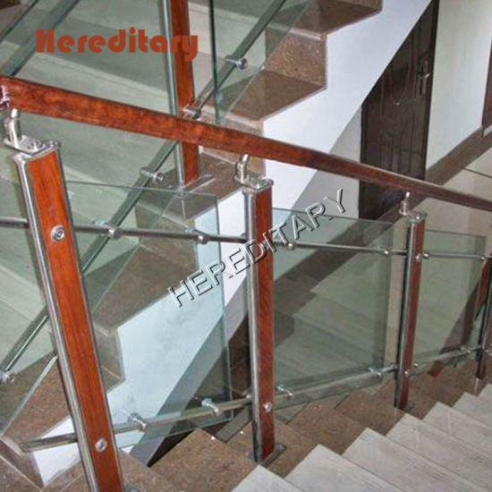 Modern Design Stainless Steel Wood Glass Balustrade In Stair Parts   Stair Railing Wood And Steel   Stair Inside   Baluster   Tall Stair   Indoor Stair   Solid Wood