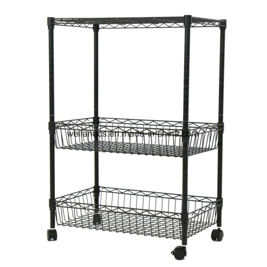 wire kitchen cart set for girl china 3 layer rolling trolley metal shelf adjustable w baskets rack