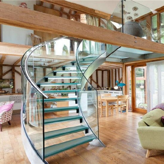 China Best Price Curved Glass Staircases With Bent Glass Railing | Glass Banisters For Stairs Price | Floating Stairs | Oak Staircase | Oak Handrail | Wood | Curved Glass