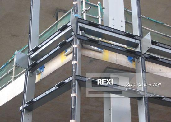 aluminum glass stick built frame curtain wall with exposed hidden capped aluminium framing spandrel unitized facade system