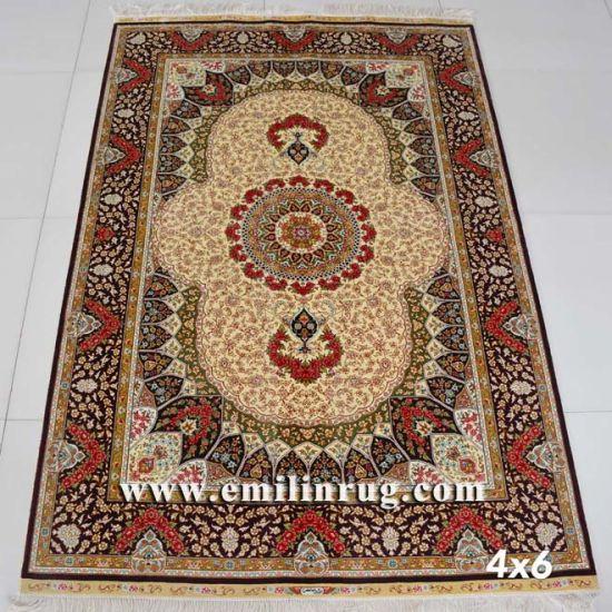 soie rouge tapis persan tabriz design
