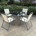 China Steel Foldable Table Chair Set Garden Furniture Sets