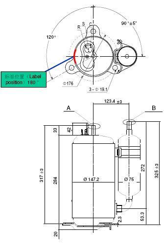 China R22 208-230V 60Hz 24000BTU LG Rotary Compressor