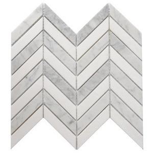 hot item white marble stone herringbone and chevron mosaic marble