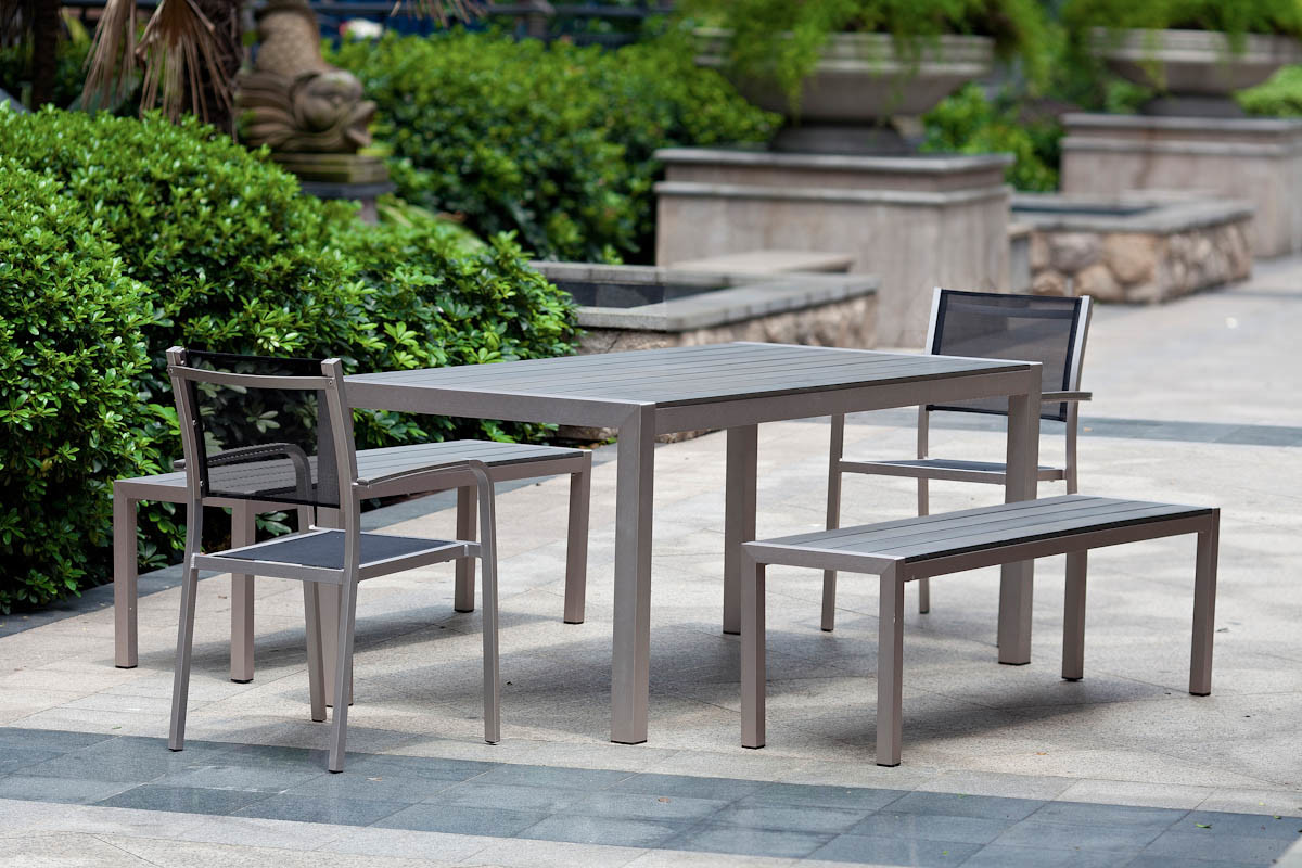 outdoor aluminium table and chairs chair leg sliders for carpet burshed aluminum ploywood dining