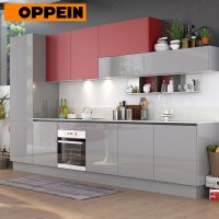 China 360cm Width Standard Red and Grey High Gloss Kitchen ...