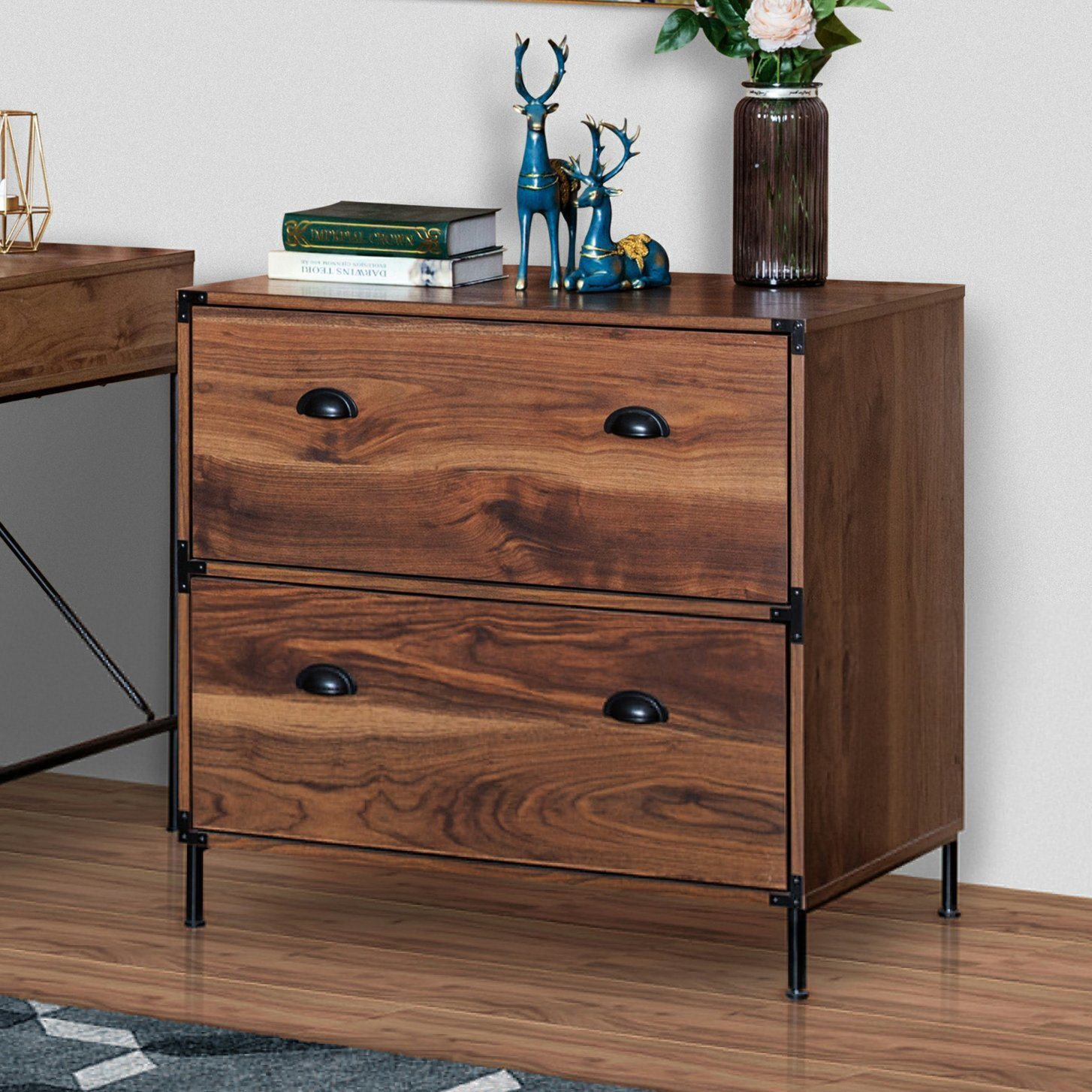 China Home Office Furniture Living Room Modern Wooden Walnut Color Luxury Fashion 2 Drawer Lateral Filing Cabinet China Drawer Lateral Filing Cabinet Lateral Filing Drawer