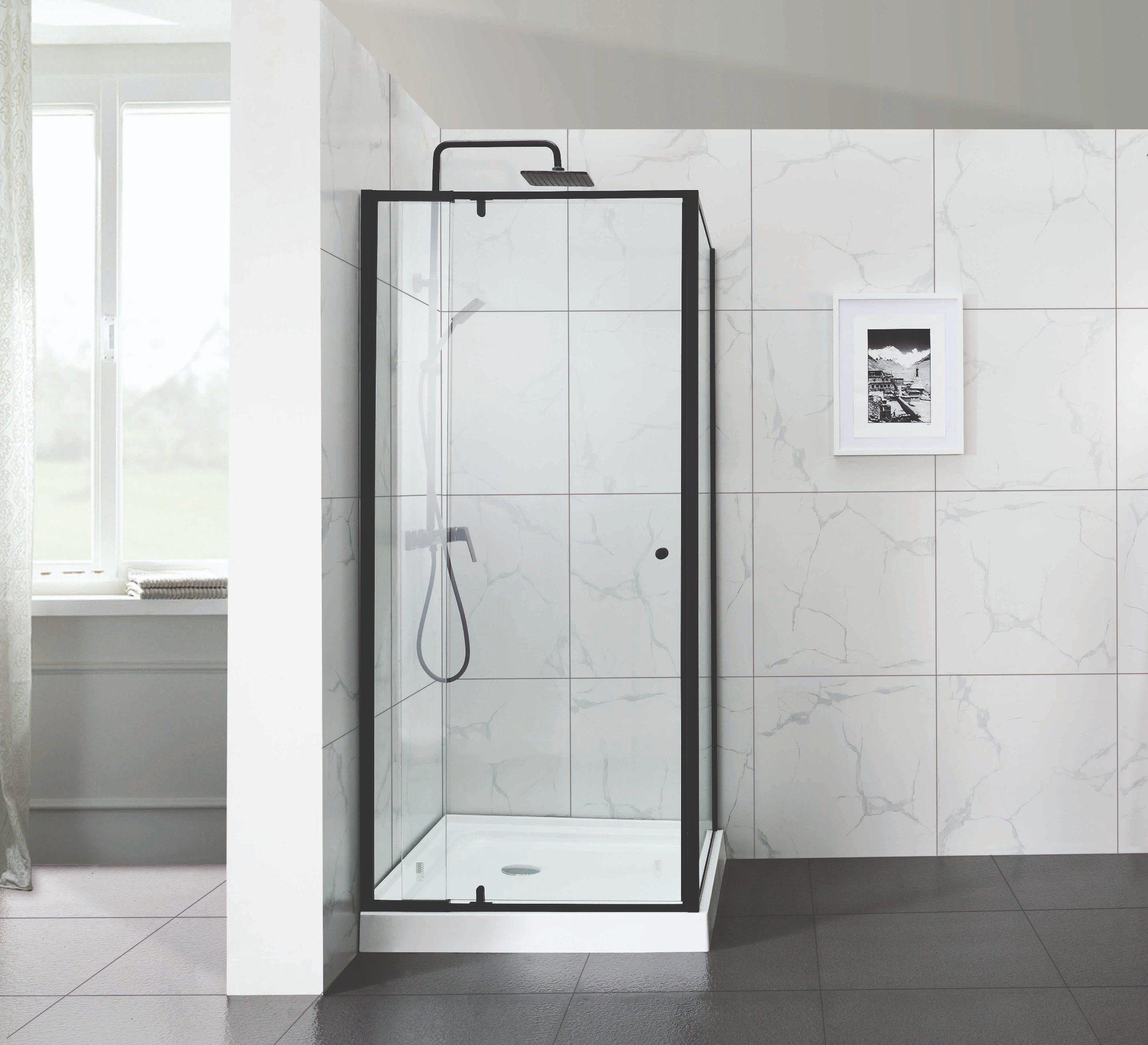 Hot Item Wide Adjustment Matt Black Ss Pivot Shower Door For Commercial Project