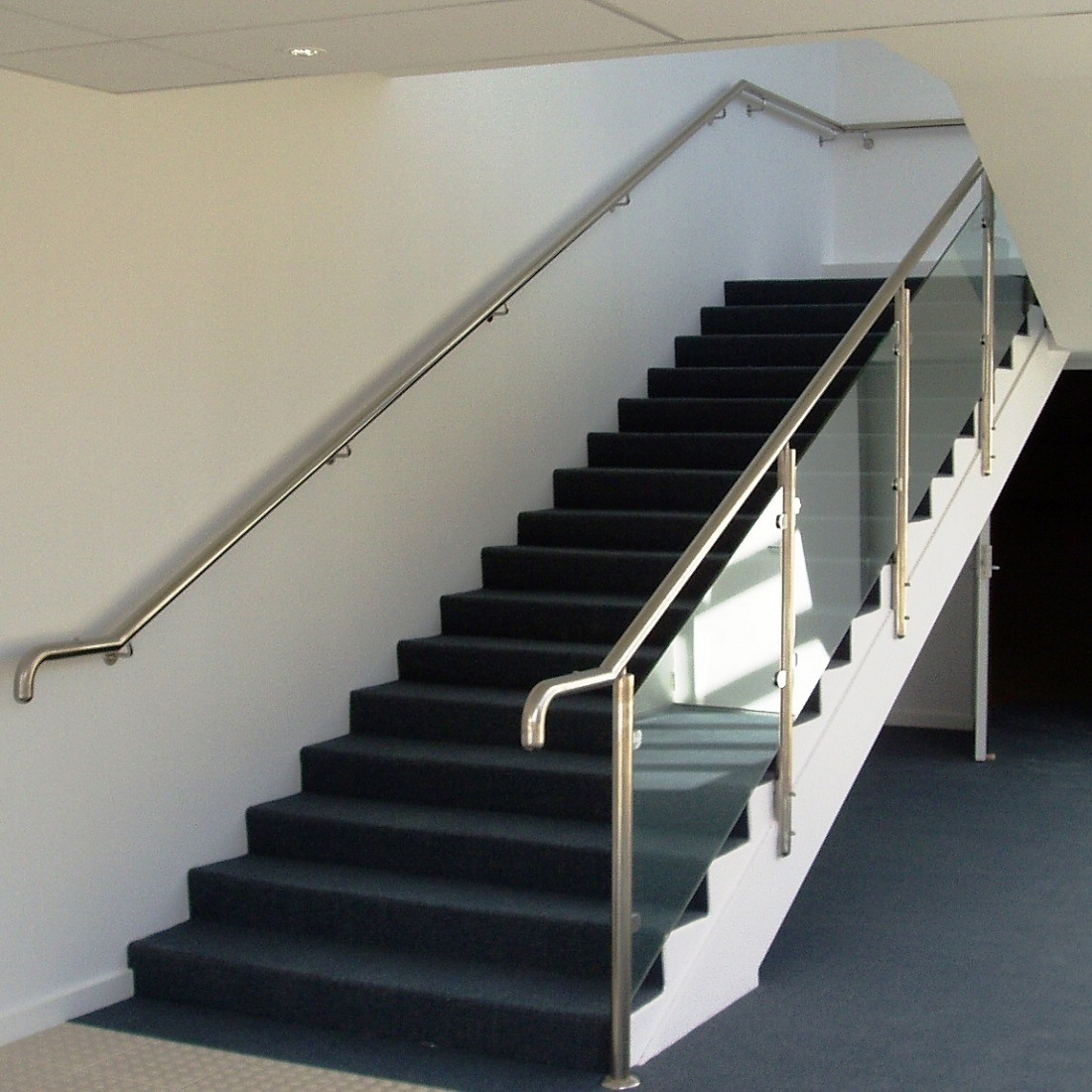China Modern Handrail Design Indoor Stainless Steel Railing Glass   Steel Handrails For Stairs   Glass   Hand   Stainless Steel   Metal   Wall Mounted