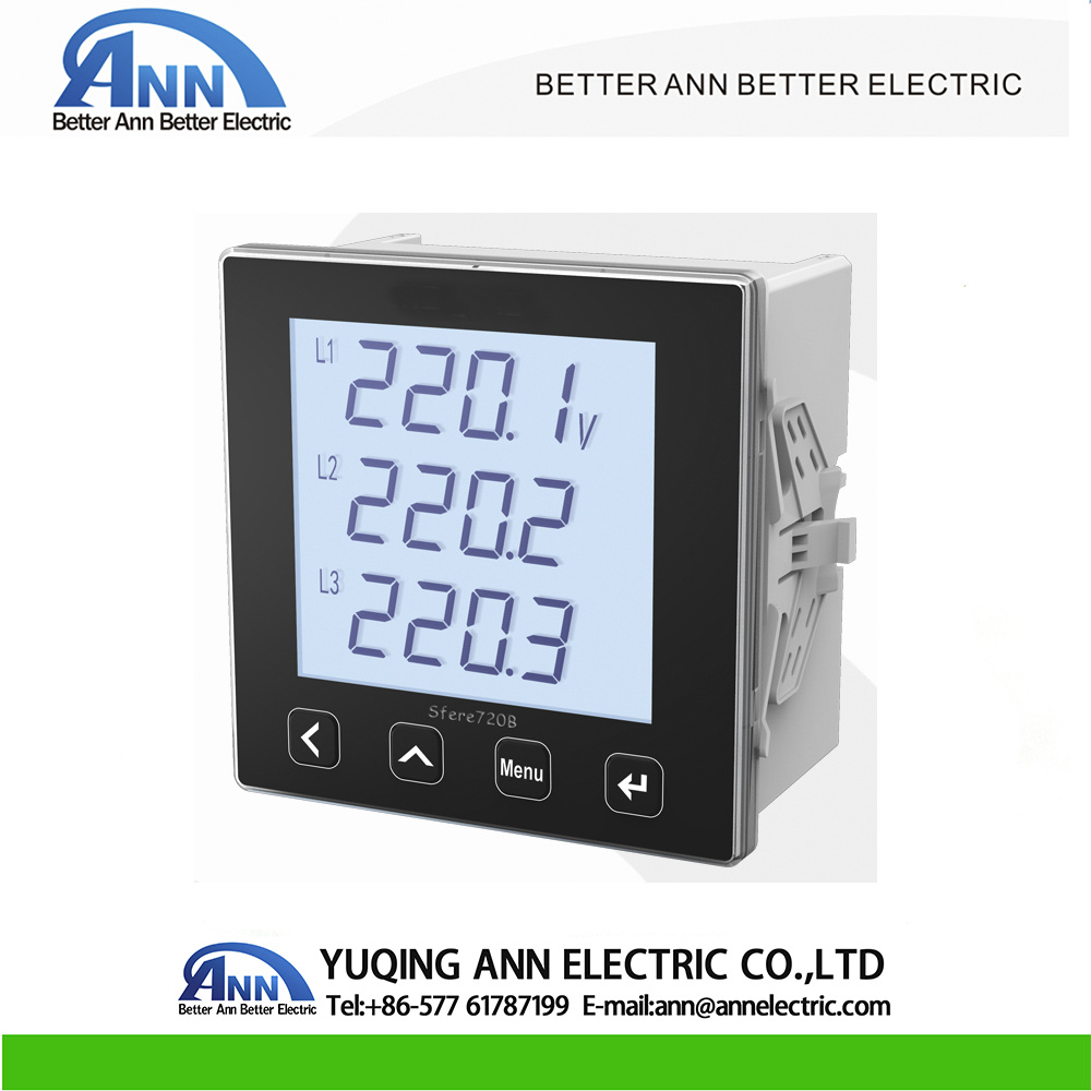 medium resolution of china 720b 96 96mm panel mounted three phase digital lcd multi function power meter china meter ammeter