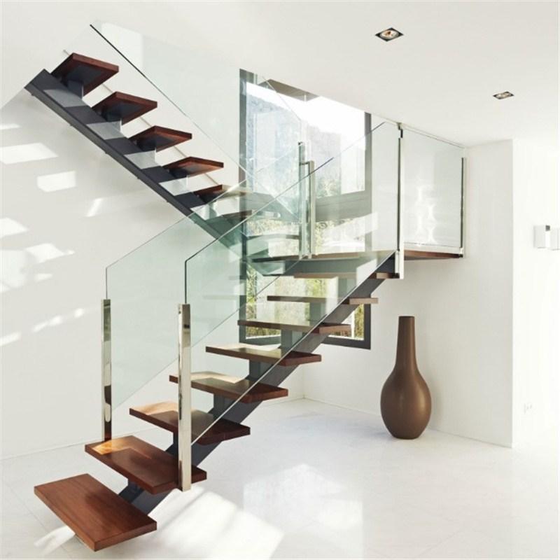 China Single Center Beam Straight Wood Staircase Glass Stair With | Wood And Glass Staircase | Stair Case | Simple | Spiral | Small | Light Oak Glass