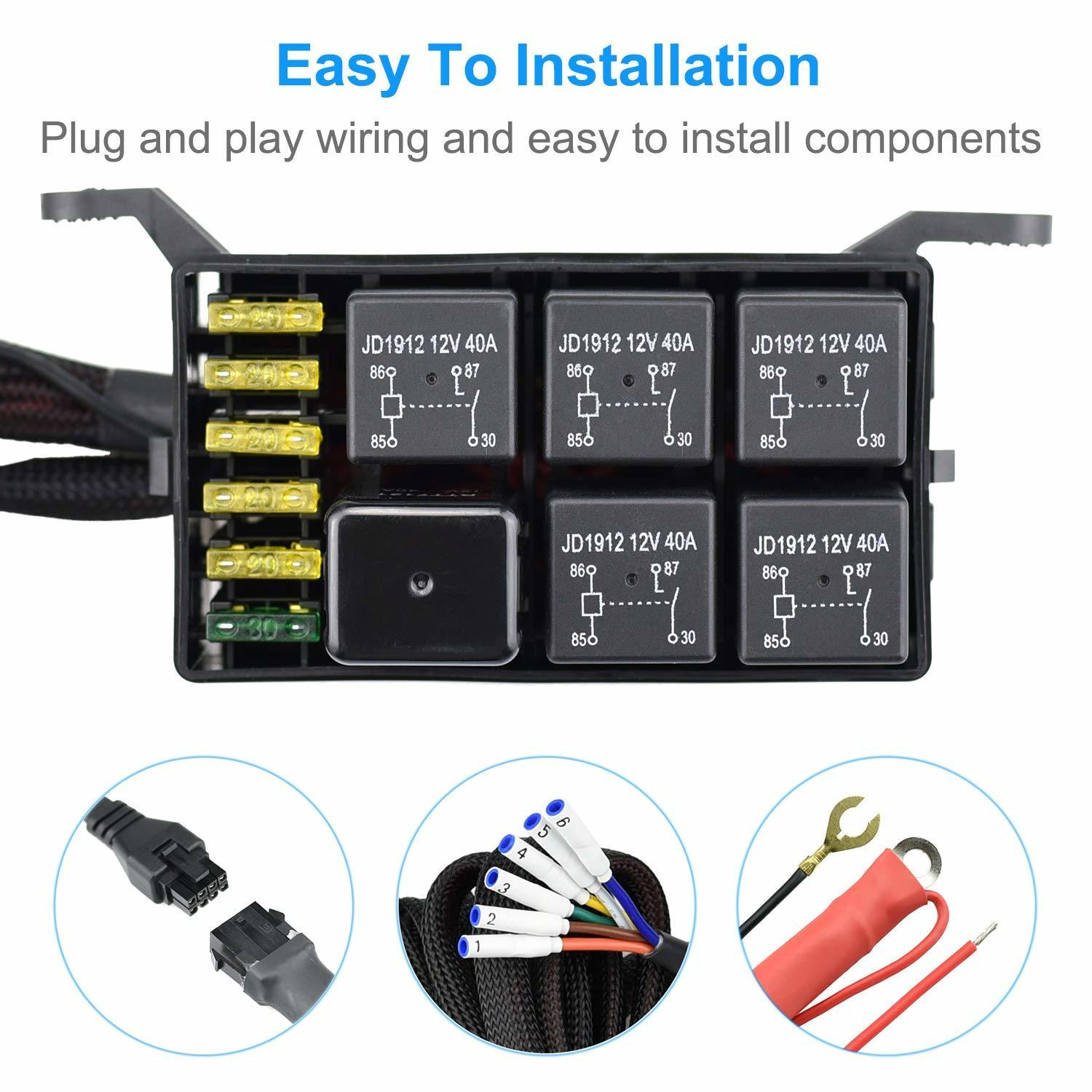hight resolution of 6 gang switch panel electronic relay system circuit control box waterproof fuse relay box wiring harness assemblies for car auto truck boat marine