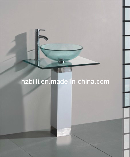 china glass basin stainless steel stand