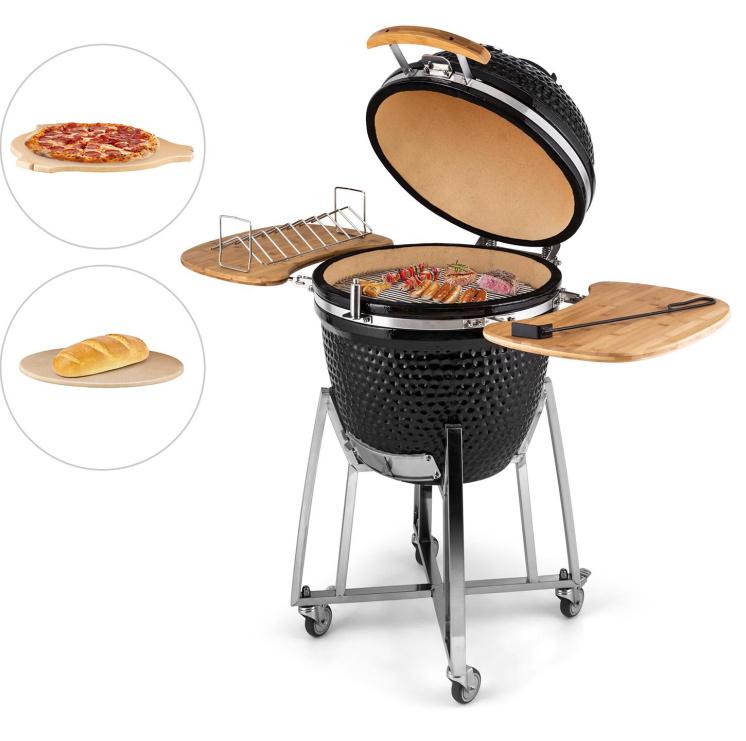 Auplex 21 Inches Black Egg Shape Ceramic Barbecue Grill