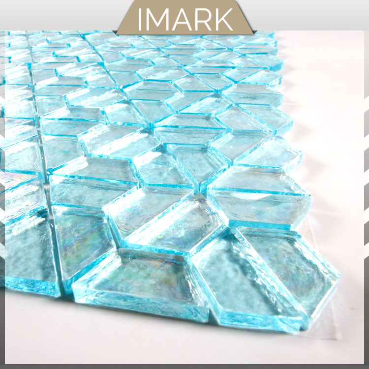 china aqua glass mosaic tile hexagon