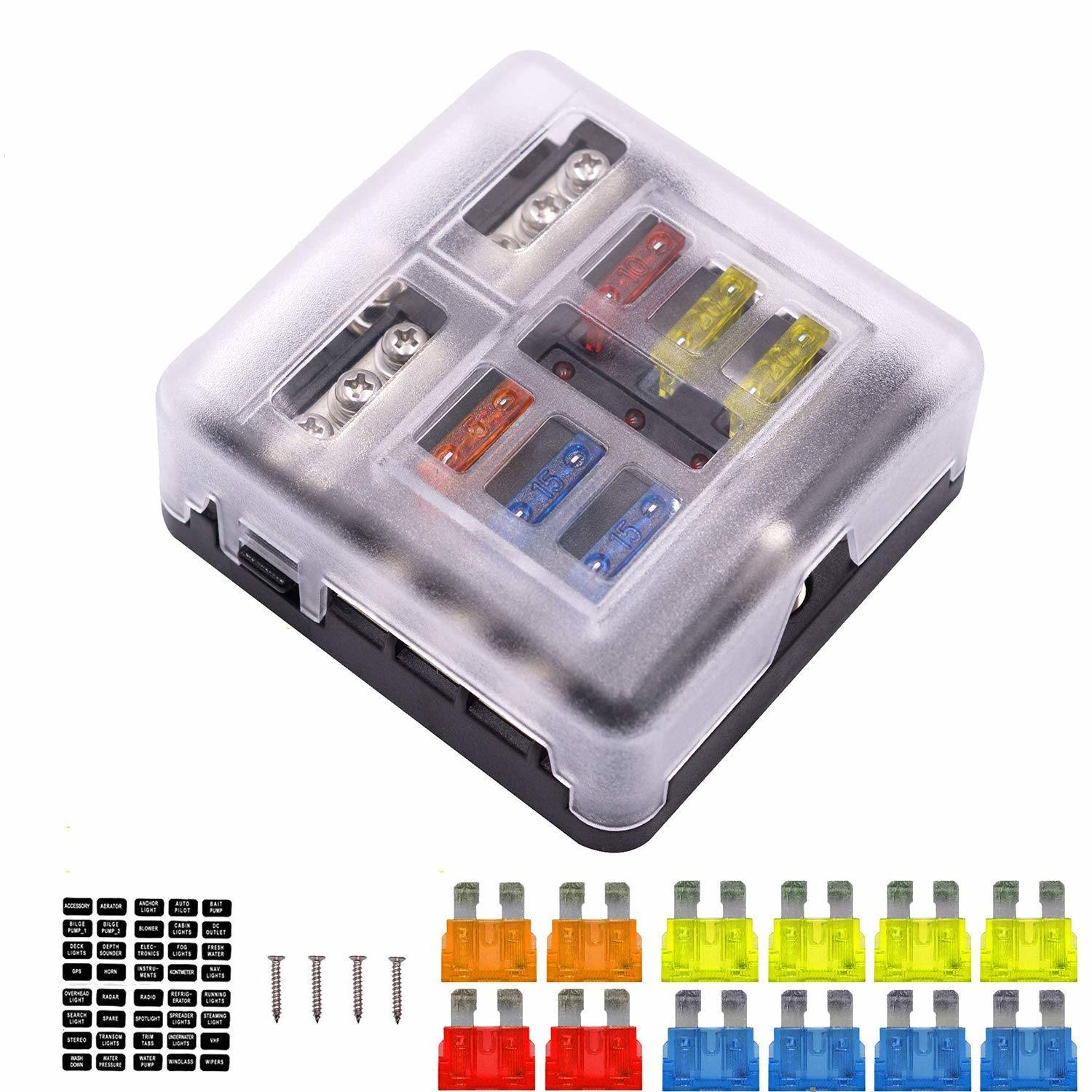 hight resolution of 6 way fuse box blade fuse block holder screw nut terminal w negative bus led indicator waterproof cover for automotive car marine boat