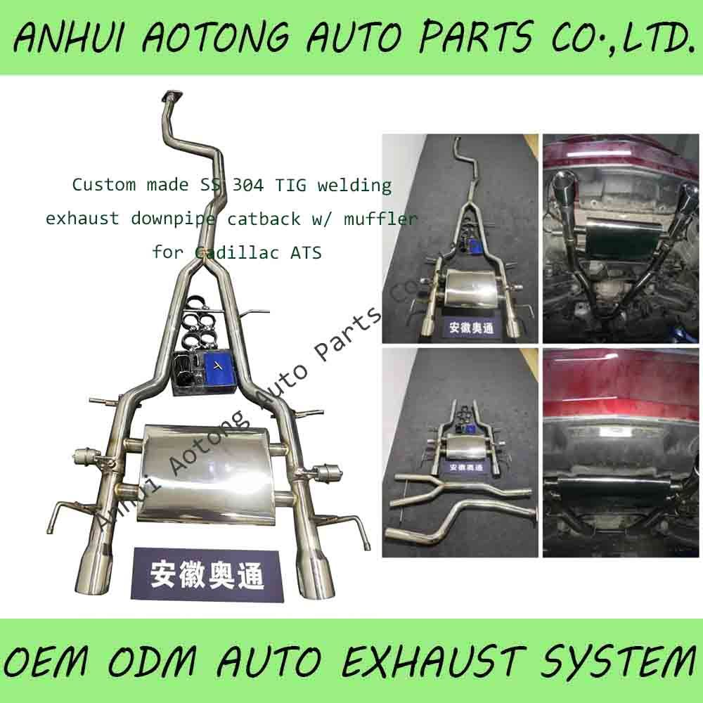 hot item auto racing ss 304 exhaust pipe system downpipe catback muffler tail pipe for cadillac ats modification