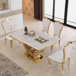 Steel Kitchen Table Cut Gloves For China Modern Luxury Gold Stainless 6 Seater Dining With Chair