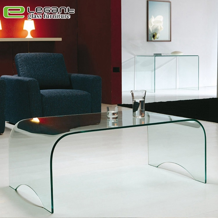 china clear curved glass center table