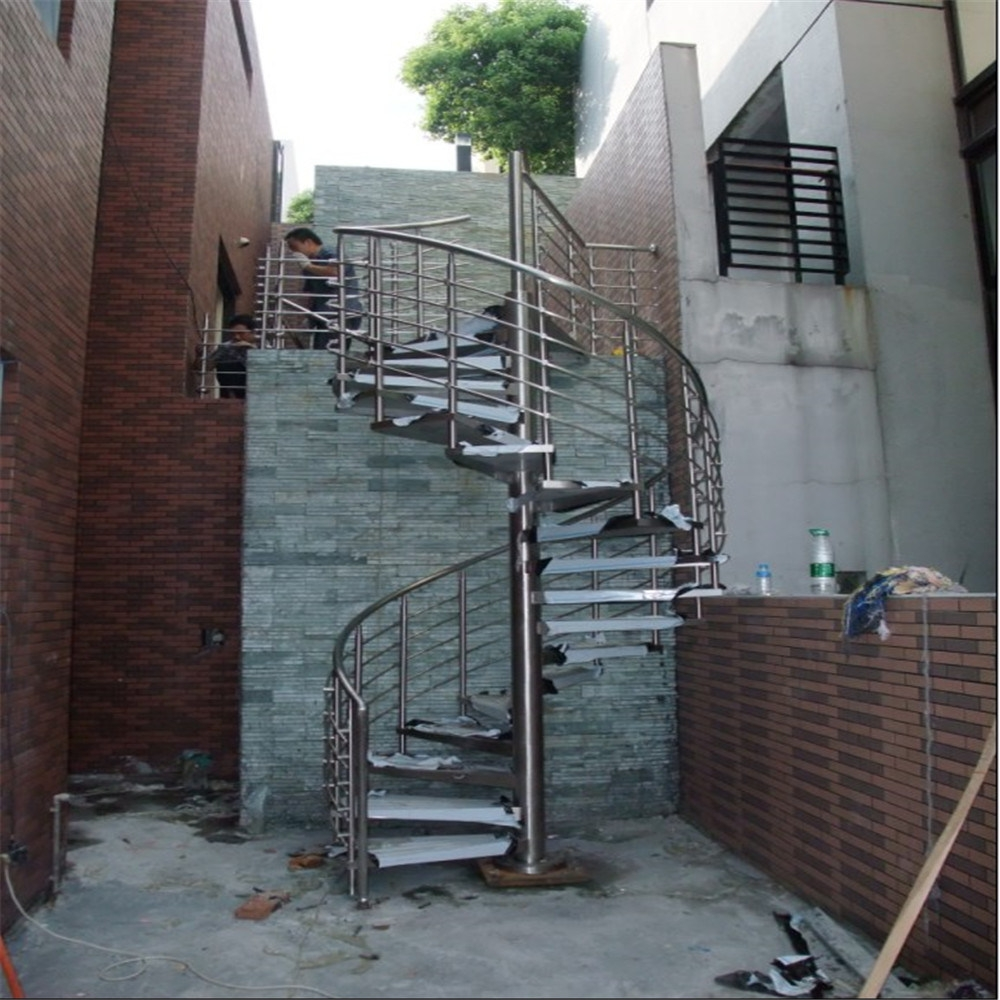 China Outdoor Use Galvanized Metal Spiral Staircase Design With | Outdoor Steel Staircase Design | Steel Framed Exterior | Indoor | Vertical Wire Balustrade | Prefabricated Steel | Stair Handrail