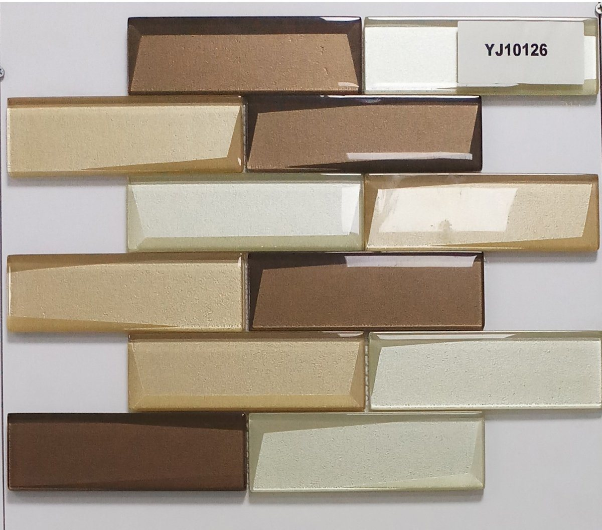 hot item modern faceted beveled subway tile light yellow beige and brown glossy glass mosaic