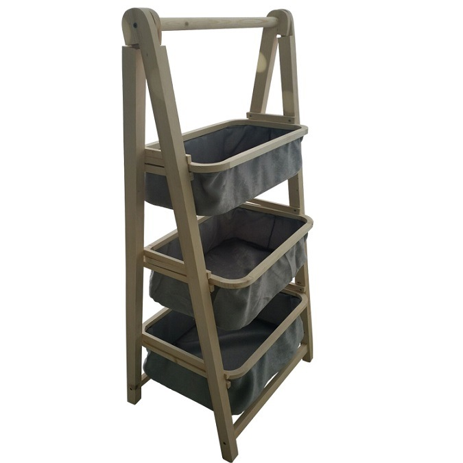 hot item bedroom 3 tiers ladder with laundry baskets wooden leaning storage shelf