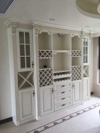 China Antique White Dining Room Cabinets Wine Rack Display ...