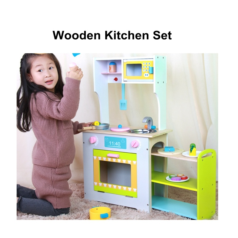 wooden kids kitchen window exhaust fan china cooking pretend play set children educational toys toy