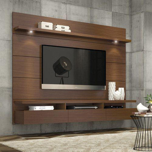hot item 2019 top rated brown wall mounted tv cabinet with led light