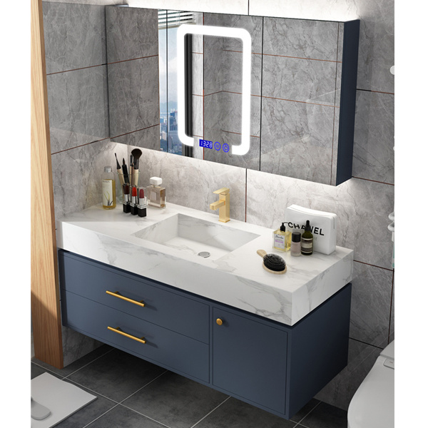 hot item simple rock board bathroom cabinet combination nordic smart light luxury vanity toilet sink washbasin cabinet