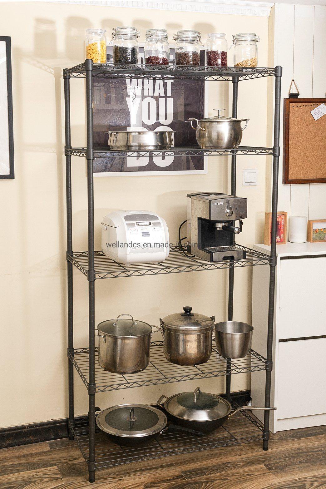 hot item multifunction 5 tiers cheap diy open black epoxy metal kitchen pantry storage wire rack