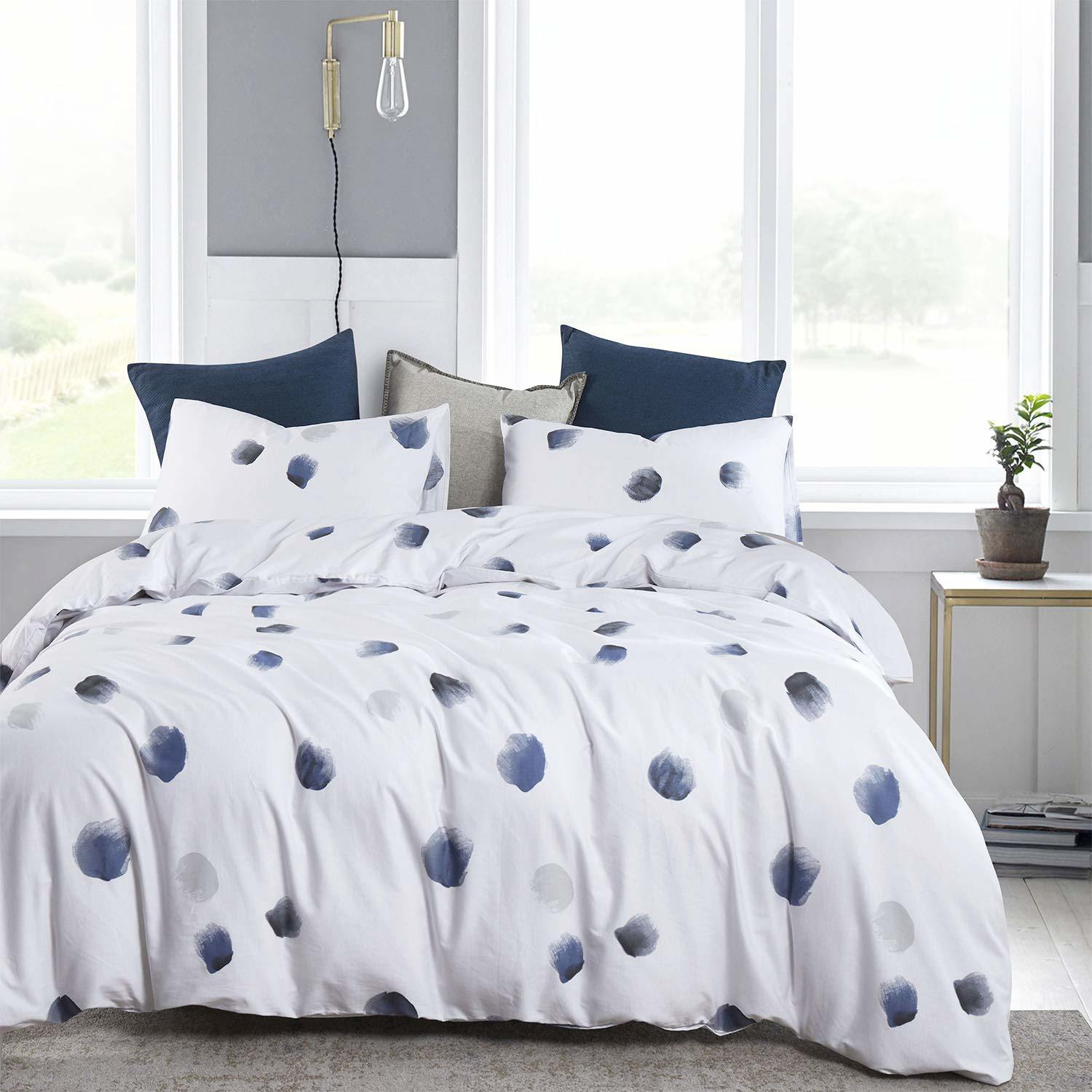 China Navy Blue And White Duvet Cover Set 100 Cotton Bedding Watercolor Brush Painting Dots Pattern Printed With Zipper Closure 3pcs Queen Size China Natural Linen And Bedding Set Price