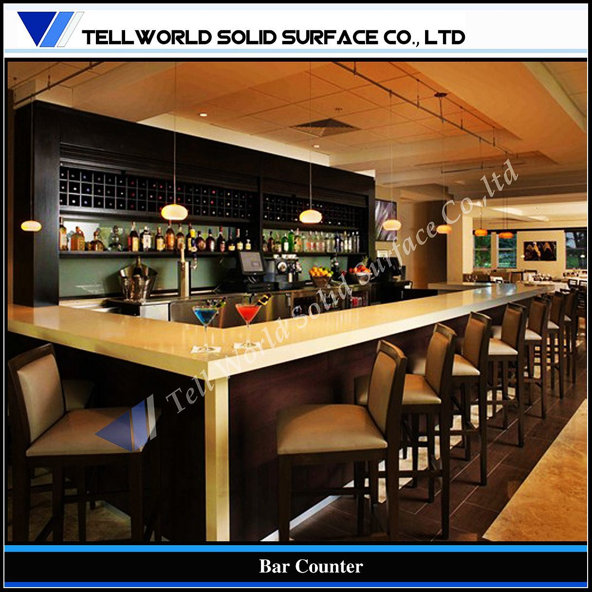China Tw Fancy Design Commercial Corian Bar Counter TW