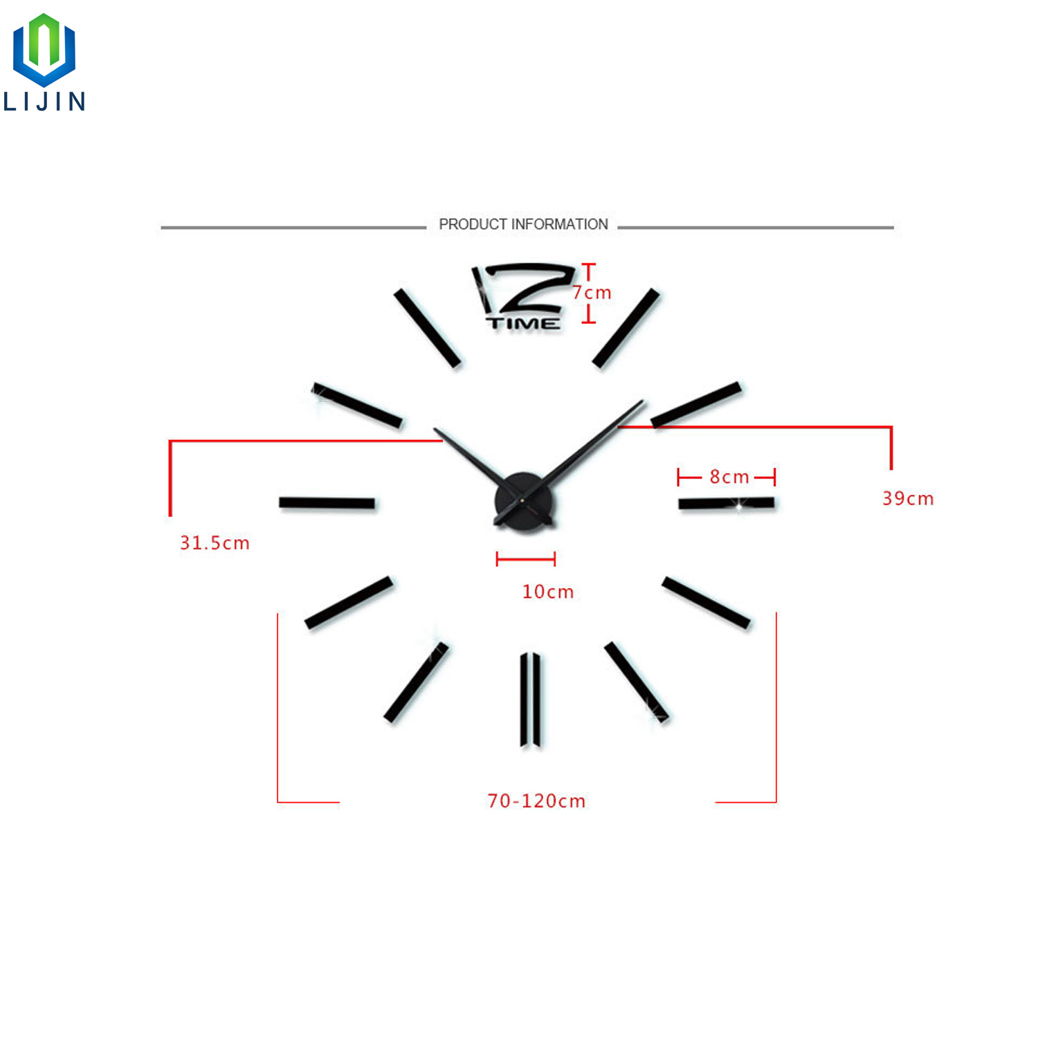 hight resolution of super large acrylic diy wall clock simple living room decorating wall clock