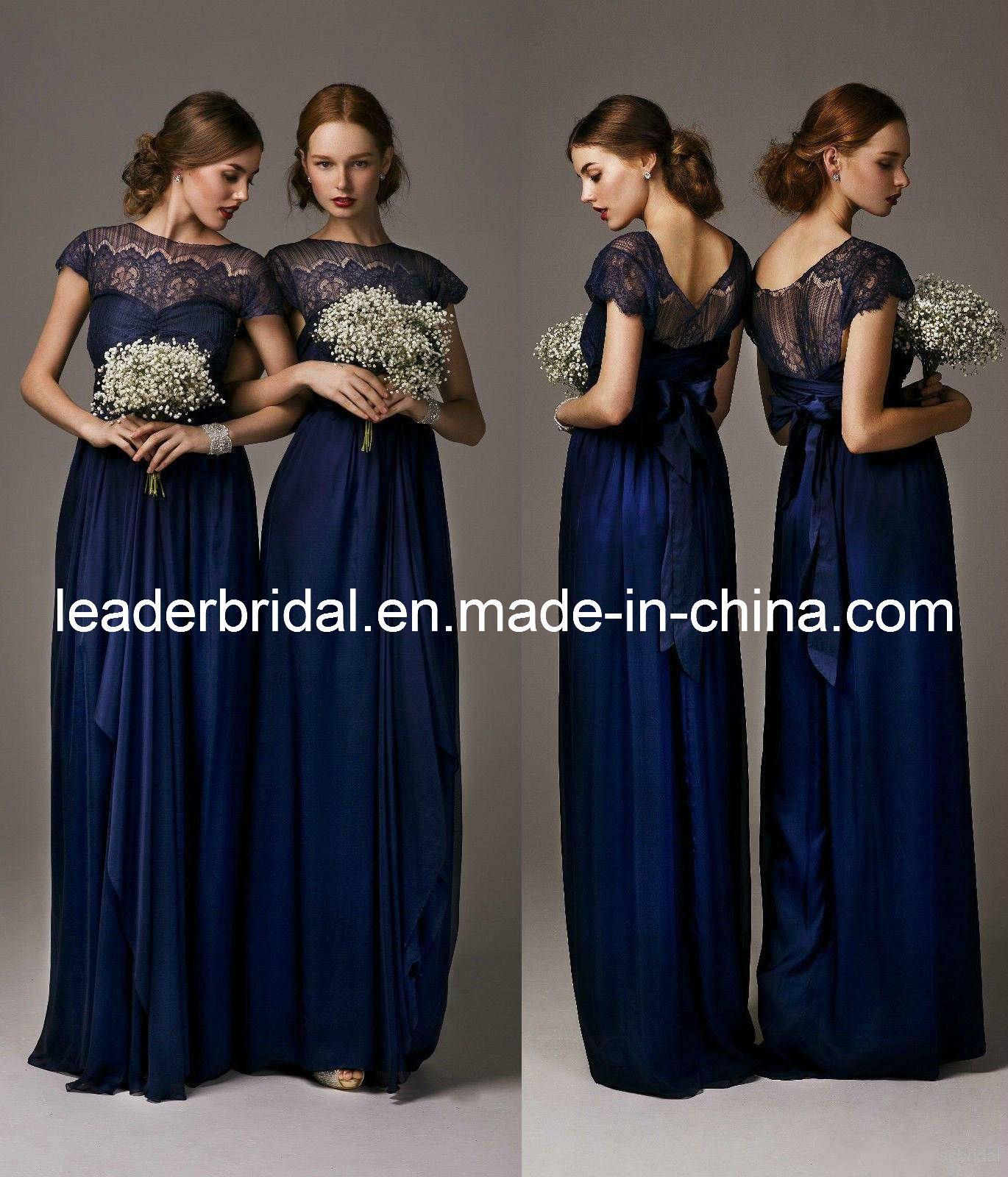 China New Bridesmaid Dresses Navy Blue Lace Chiffon Empire