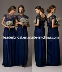 China New Bridesmaid Dresses Navy Blue Lace Chiffon Empire