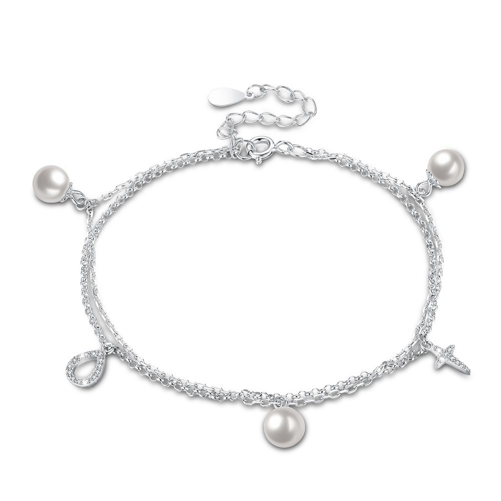 China Latest Design 925 Sterling Silver Zircon Pearl Charm