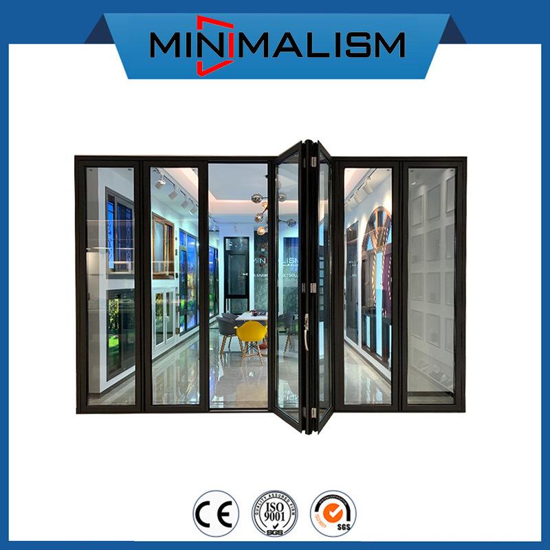 hot item anti pinch hand aluminium folding doors garage door opener for exterior patio bi fold black aluminum profile for commercial usage thermal