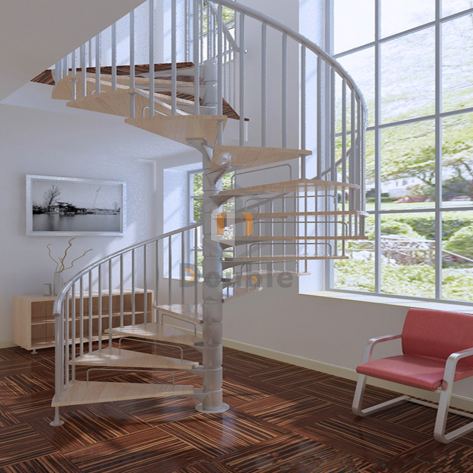 China White Spiral Staircase Steel Stairs Steel Railing Stair   Steel Railing For Steps   Balustrade   Simple   Fabrication   Carbon Steel   Wooden