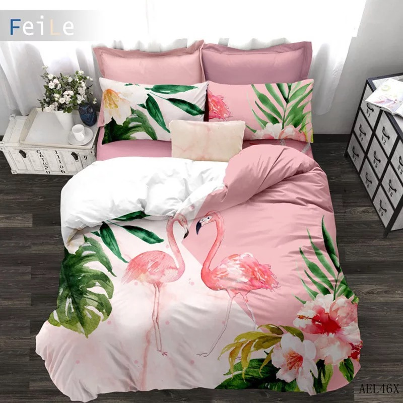 hot item colorful peacock bird feather flamingo design 3d printed bedding for girls oem order
