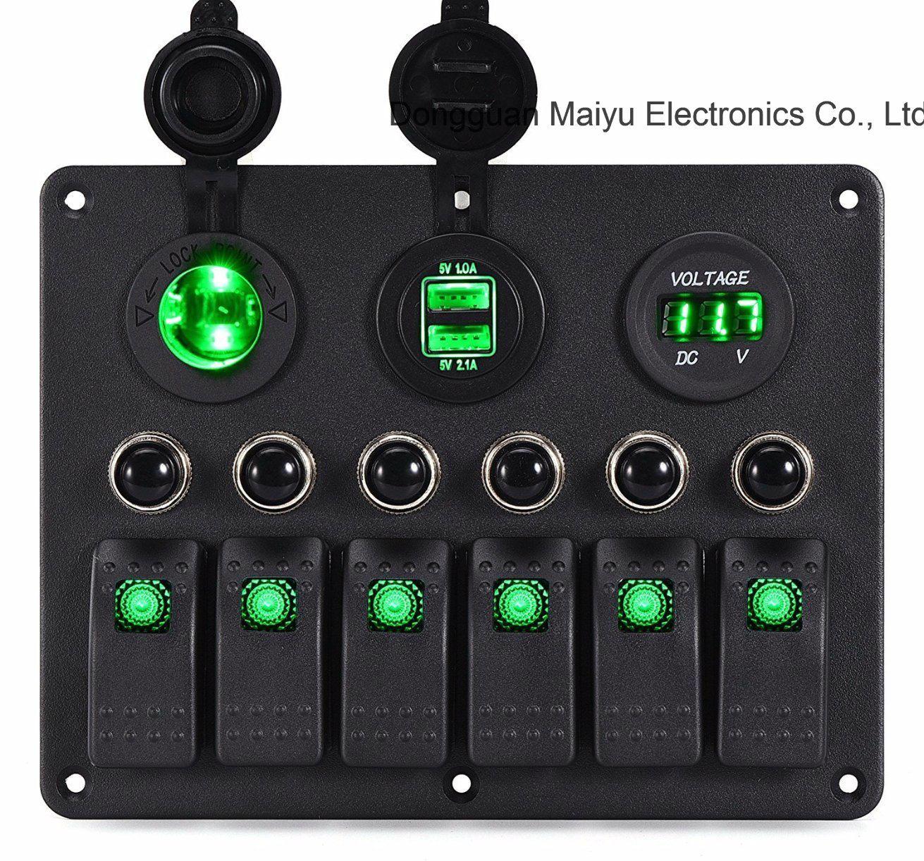 hight resolution of china car marine circuit led on off toggle rocker switch panels china 6 gang rocker switch panel