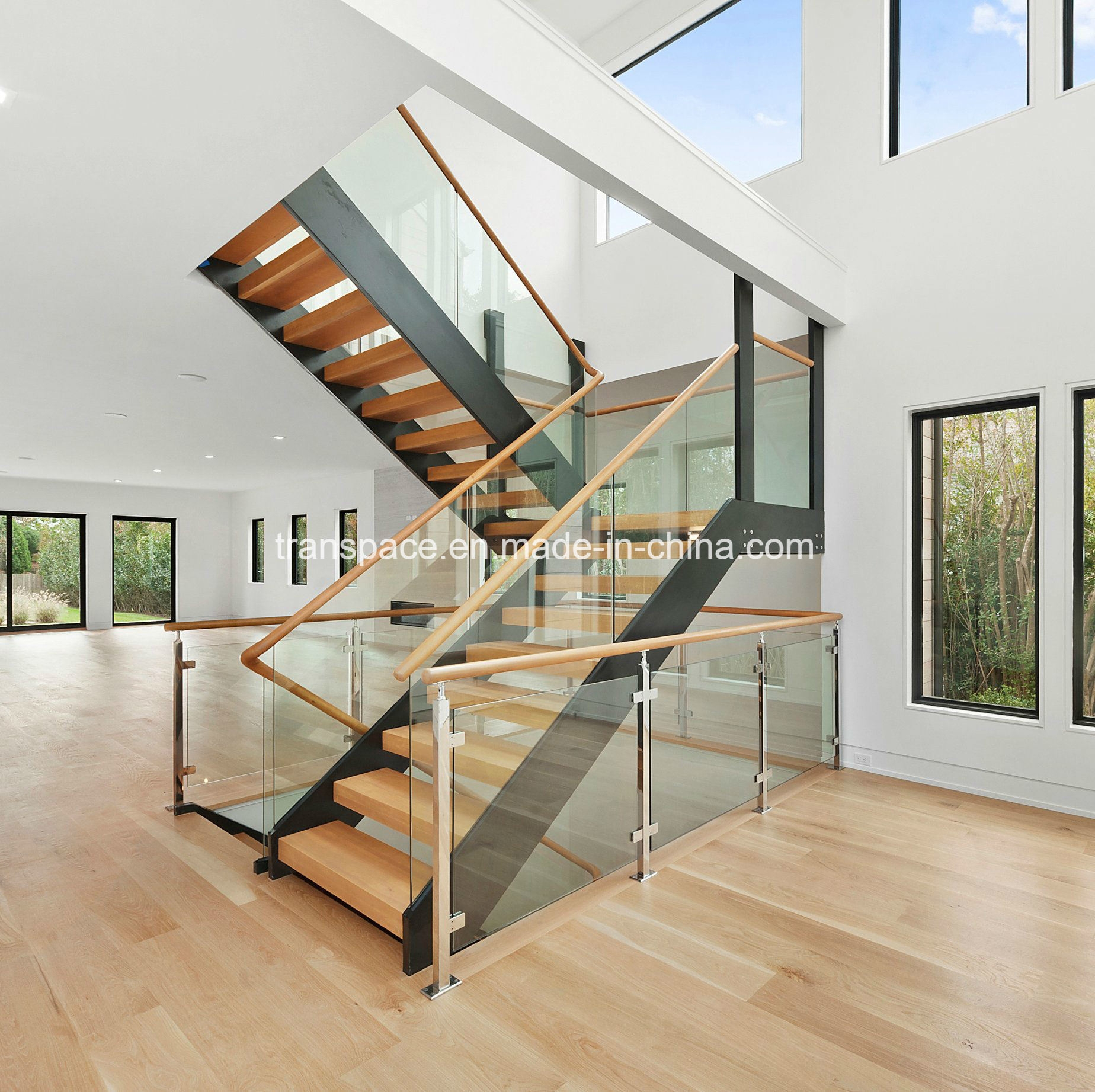 China Straight Steel Wood Stair With Tempered Glass | Wood And Glass Handrail