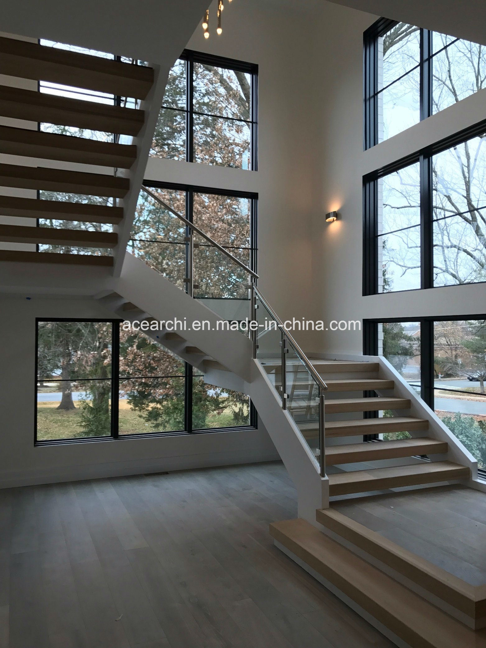 China Interior Stainless Steel Tempered Clear Glass Stair Railing   Clear Handrails For Stairs   Steel   Clear Acrylic   Wood   Riser   Metal