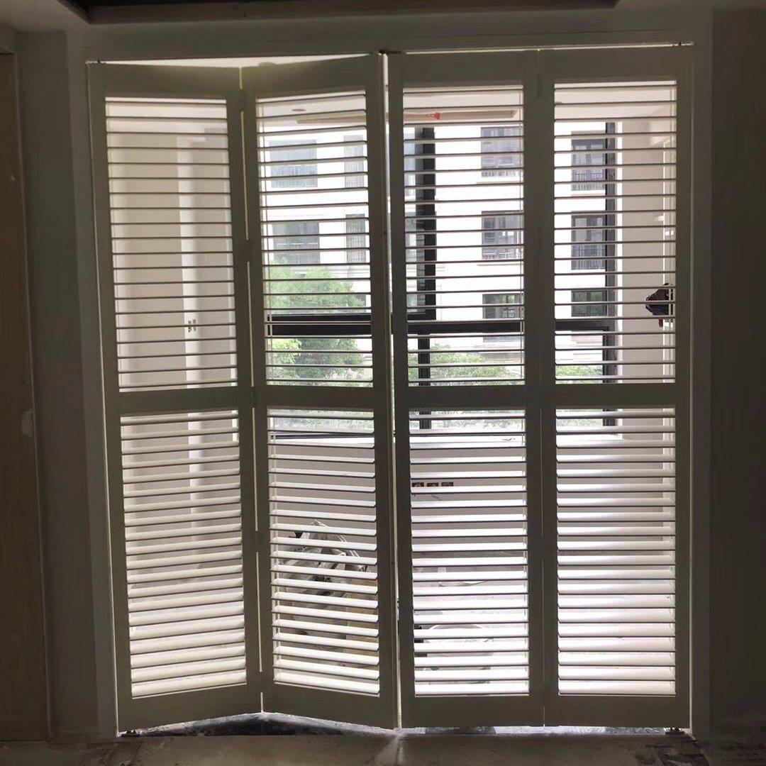 Hot Item White Color Regular Pvc Louver Pu Coated Plantation Shutter Door For Separation