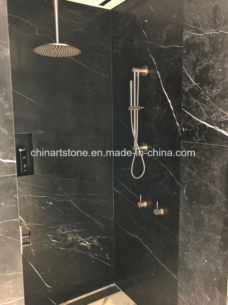 china nature black marble tile for